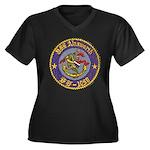 USS AINSWOR Women's Plus Size V-Neck Dark T-Shirt