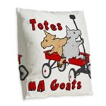 Totes MaGoats Red Wagon Burlap Throw Pillow