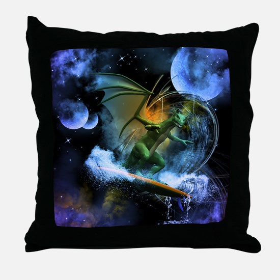 Surfing dragon Throw Pillow