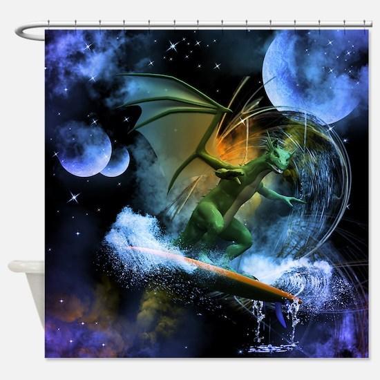 Surfing dragon Shower Curtain