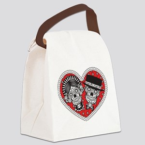 Sugar Skull Couple Canvas Lunch Bag