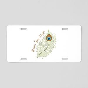 Peace,Love, Hope Aluminum License Plate