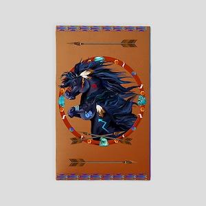 Black Horse Mandala Sq 3'x5' Area Rug