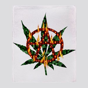Fiery Anarchist Marijuana Throw Blanket
