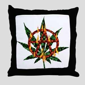 Fiery Anarchist Marijuana Throw Pillow