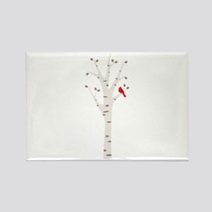 Winter Birch Tree Cardinal Bird Magnets
