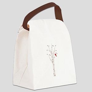 Winter Birch Tree Cardinal Bird Canvas Lunch Bag