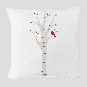 Winter Birch Tree Cardinal Bird Woven Throw Pillow