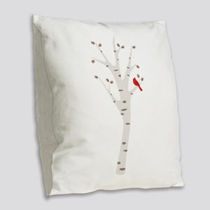 Winter Birch Tree Cardinal Bird Burlap Throw Pillo
