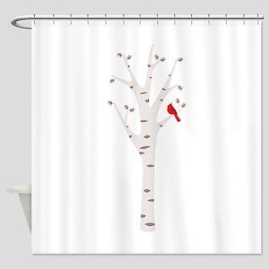 Winter Birch Tree Cardinal Bird Shower Curtain