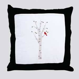 Winter Birch Tree Cardinal Bird Throw Pillow