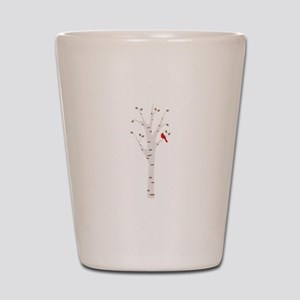 Winter Birch Tree Cardinal Bird Shot Glass