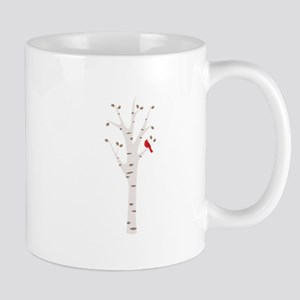 Winter Birch Tree Cardinal Bird Mugs
