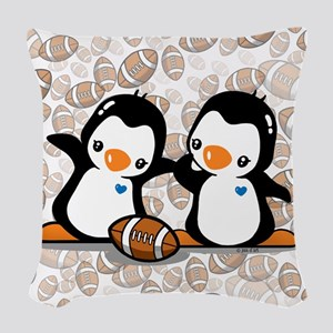Rugby Penguins Woven Throw Pillow