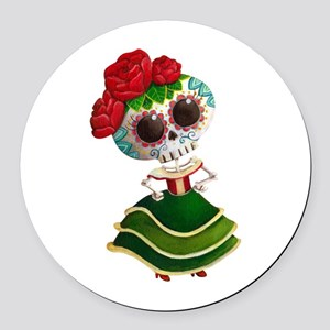 El Dia de Los Muertos Skeleton Girl Round Car Magn