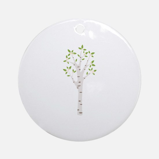 Spring Birch Tree Blooming Flowers Ornament (Round