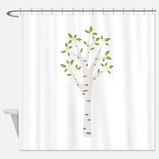 Spring Birch Tree Blooming Flowers Shower Curtain