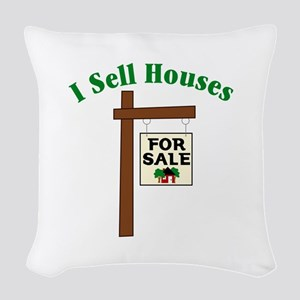 I SELL HOUSES FOR SALE Woven Throw Pillow