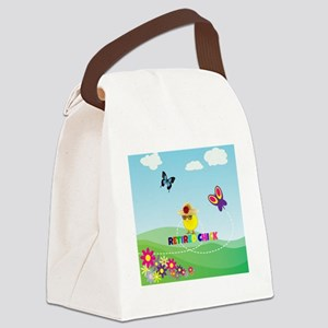 Retired Chick, Flowers and Butter Canvas Lunch Bag