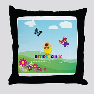 Retired Chick, Flowers and Butterflie Throw Pillow