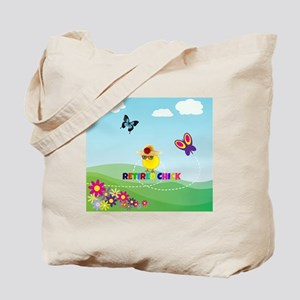 Retired Chick, Flowers and Butterflies Tote Bag