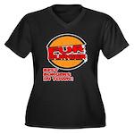 Fur Burger Women's Plus Size V-Neck Dark T-Shirt