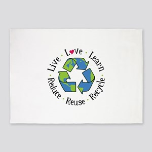 Area Rugs Live Love Learn Recycle Reuse Reduce 5 X7