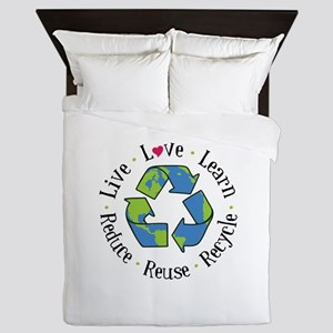 Live.Love.Learn.Recycle.Reuse.Reduce Queen Duvet