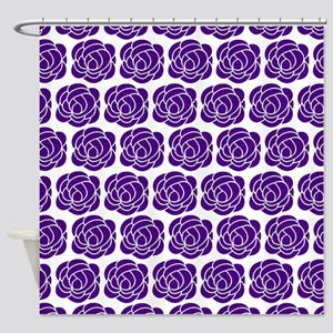 Purple Roses On White Shower Curtain