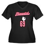 Playgirl Women's Plus Size V-Neck Dark T-Shirt