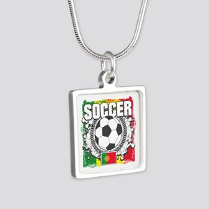 Soccer Portugal Silver Square Necklace