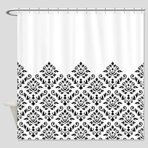 Baroque Damask Bw Part Pattern Shower Curtain
