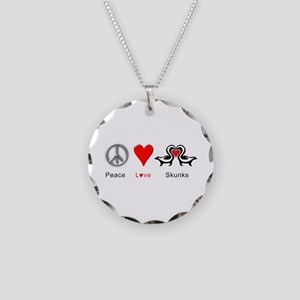 Peace Love Skunks Necklace Circle Charm