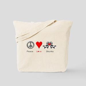 Peace Love Skunks Tote Bag