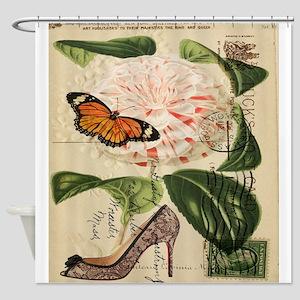 modern pairs fashion stilettos roses Shower Curtai