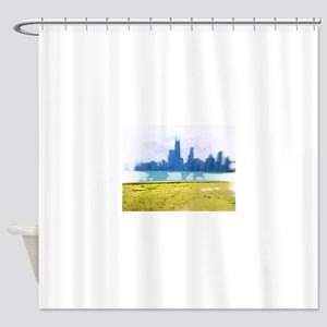 Chicago Skyline Air Brush Painted Shower Curtain