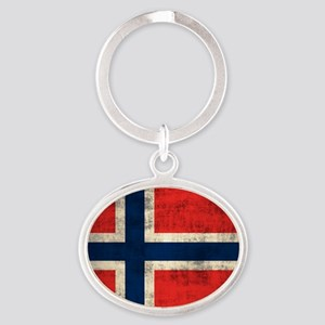 Flag of Norway Vintage Grunge Keychains