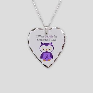 I Wear Purple Necklace Heart Charm