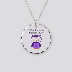 I Wear Purple Necklace Circle Charm