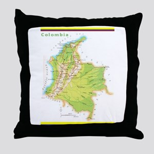 Colombia Green map Throw Pillow