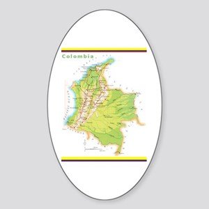 Colombia Green map Sticker (Oval)