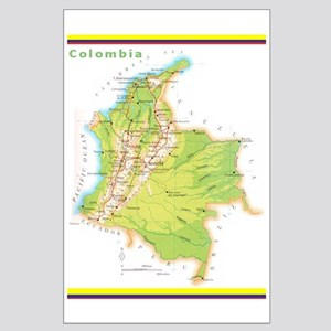Colombia Green map Large Poster