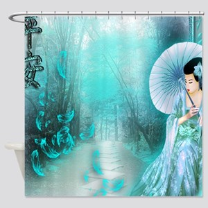 Geisha In Teal Shower Curtain
