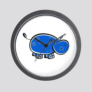 Bright Blue Hippo Wall Clock