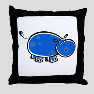 Bright Blue Hippo Throw Pillow