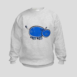 Bright Blue Hippo Kids Sweatshirt