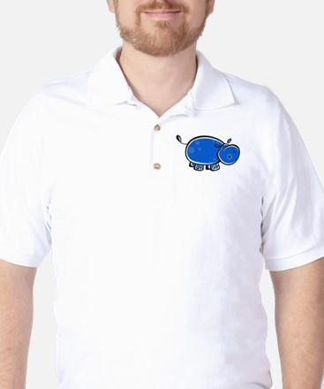 Bright Blue Hippo Golf Shirt