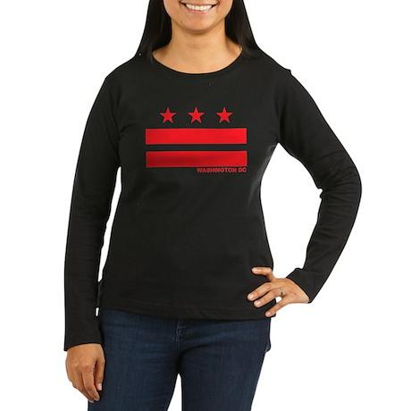 Washington DC Flag Women's Long Sleeve Dark T-Shir