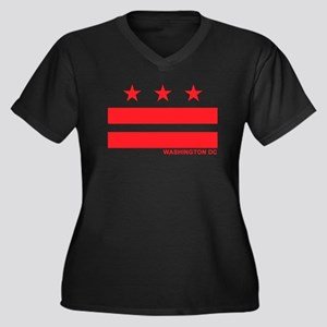 Washington DC Flag Women's Plus Size V-Neck Dark T