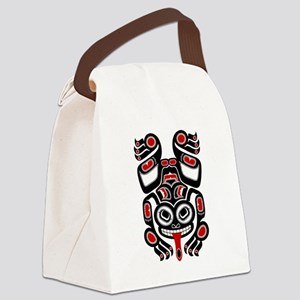 Red and Black Haida Tree Frog Canvas Lunch Bag